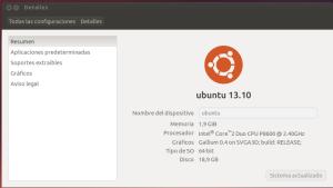 Detalles Sistema Ubuntu